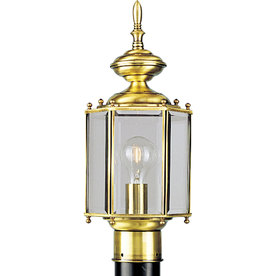 Progress Lighting Brassguard 17-in H Polished Brass Post Light