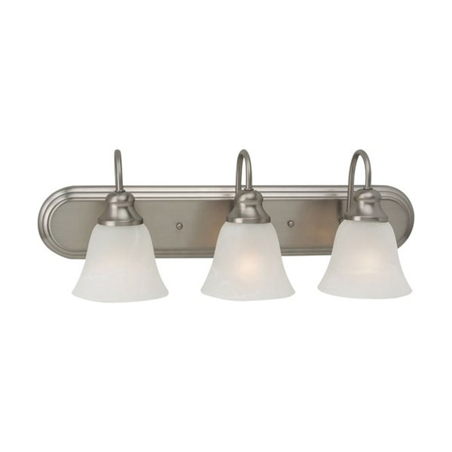 Shop sea gull lighting 3 light windgate brushed nickel for Bathroom vanity lights