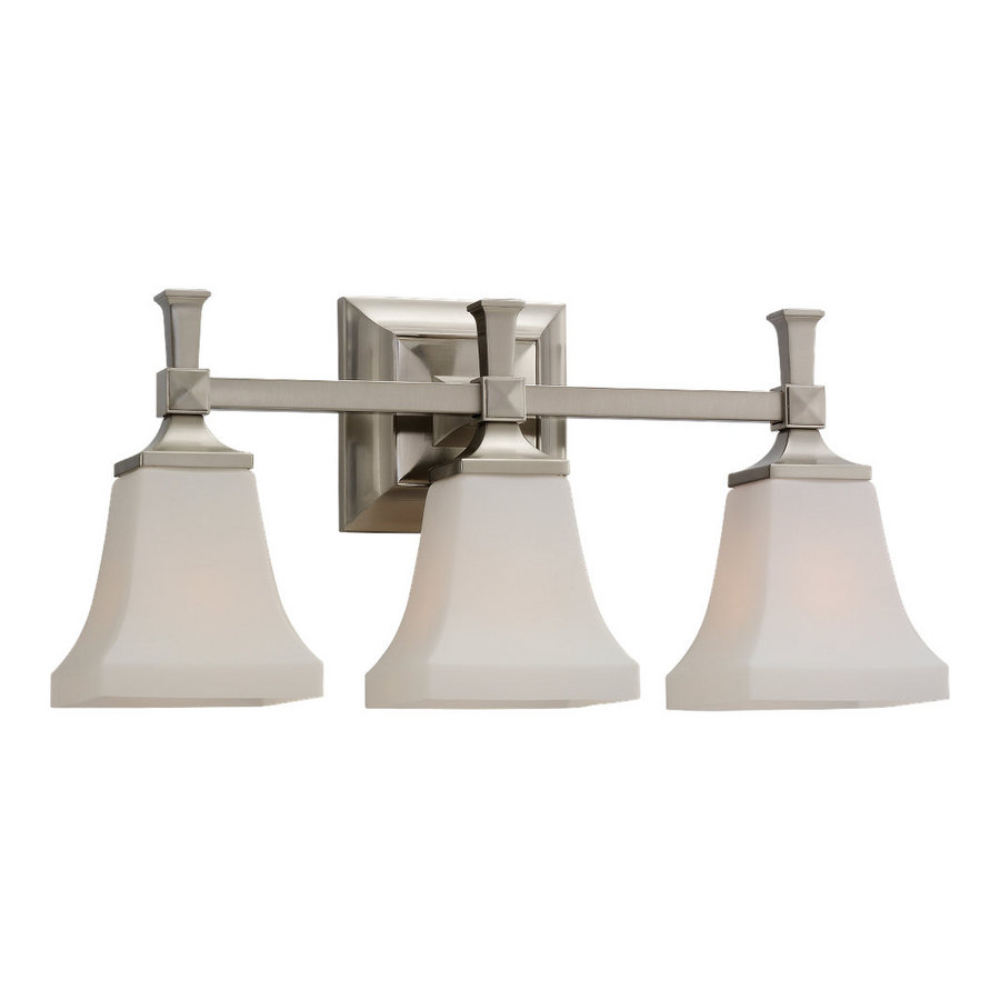 Shop sea gull lighting 3 light melody brushed nickel for Bathroom vanity lights