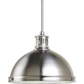 Sea Gull Lighting Pratt Street Metal 13-in W Brushed Nickel Pendant Light with Ribbed Shade
