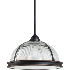 Sea Gull Lighting Pratt Street Prismatic 16.25-in W Autumn Bronze Pendant Light with Ribbed Shade