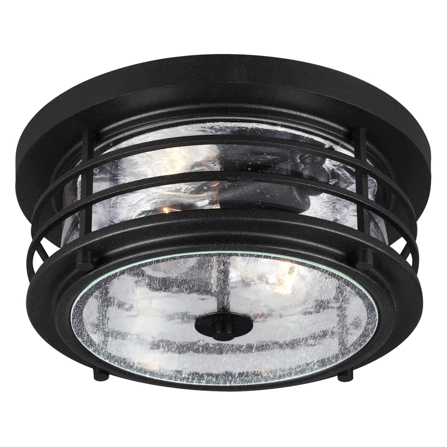 lighting sauganash 12 25 in w black outdoor flush mount light energy. Black Bedroom Furniture Sets. Home Design Ideas
