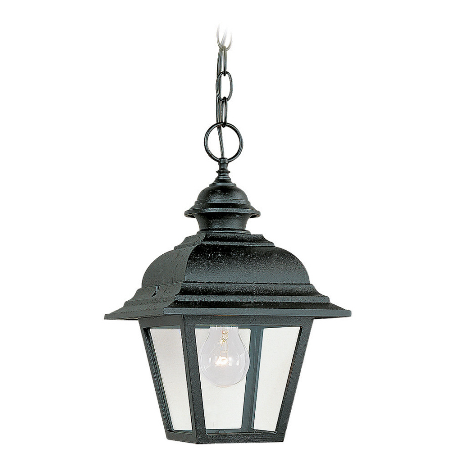 Outdoor Hanging Lanterns Lowes: Shop Sea Gull Lighting 14.25-in H Black Outdoor Pendant