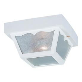 Sea Gull Lighting 10-1/4-in White Outdoor Flush-Mount Light
