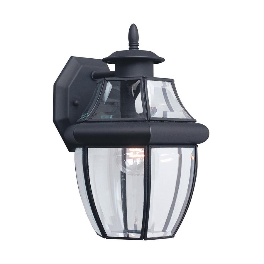 Exterior Wall Sconces Lowes : Shop Sea Gull Lighting 12-in H Black Outdoor Wall Light at ...