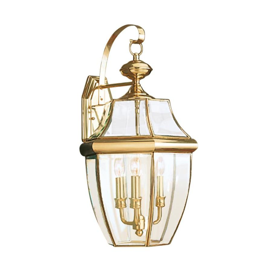 Outdoor Wall Light Fixtures Lowes : Shop Sea Gull Lighting 23-in H Polished Brass Outdoor Wall Light at Lowes.com