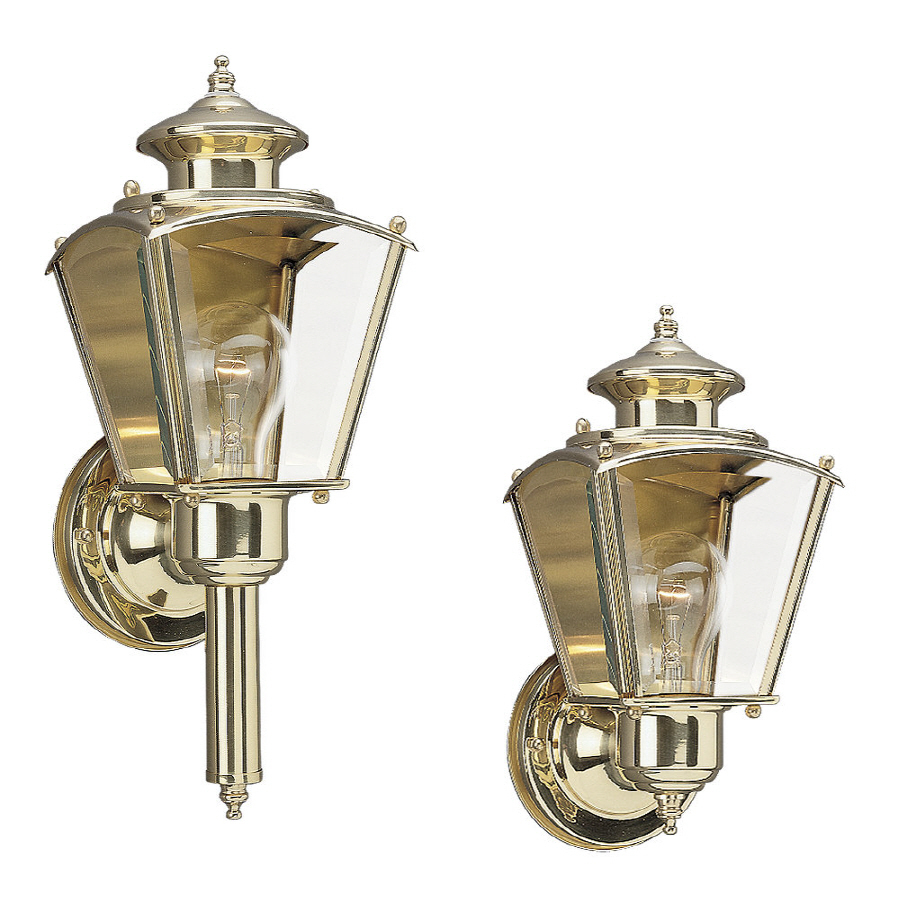 Shop Sea Gull Lighting 14-in H Polished Brass Outdoor Wall Light at Lowes.com