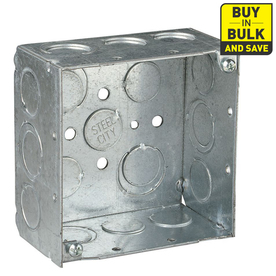 STEEL CITY 30-1/4 cu in 2-Gang Square Metal Electrical Box