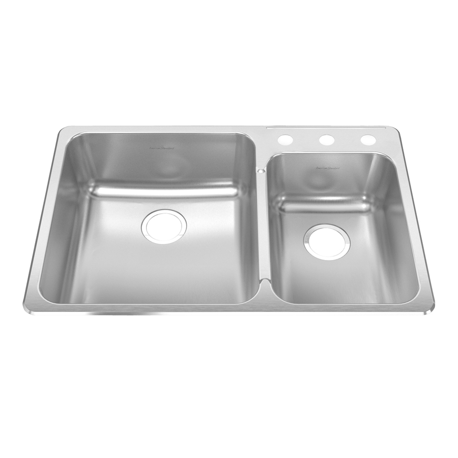 Shop american standard prevoir 18 gauge double basin drop in stainless steel kitchen sink at - American standard kitchen sink ...