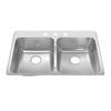 American Standard Prevoir 37.75-in x 25.3125-in Radiant Silk Double-Basin Stainless Steel Drop-In Kitchen Sink