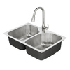 American Standard Tulsa 33-in x 22-in Stainless Steel Double-Basin Drop-in or Undermount 1-Hole Residential Kitchen Sink All-In-One Kit
