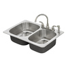American Standard Fairport 33-in x 22-in Stainless Steel Double-Basin Drop-in 4-Hole Residential Kitchen Sink All-In-One Kit
