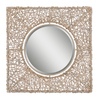 Global Direct 40.5-in x 40.5-in Natural Knotted Rattan Beveled Square Framed French Wall Mirror