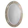Global Direct 22-in x 32-in Antiqued, Etched, Bevel Mirror Frame Oval Framed Mirror
