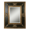Global Direct 60-in x 48-in Gold Leaf with Heavy Antiquing, Black Distressed Panel, and Green Glaze Rectangular Framed Mirror