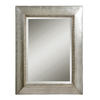 Global Direct 40-in x 50-in Antiqued Scratched Silver Leaf with Black Dry Brushing Beveled Rectangle Framed French Wall Mirror