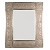 Global Direct 50-in x 60-in Heavily Distressed Golden-Champagne Leaf with Black Undertones, Deep Red Dry Brushing and A Heavy Rusty Tan Wash Beveled Rectangle Framed French Wall Mirror