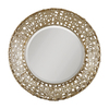 Global Direct 32.25-in x 32.25-in Champagne with Black Dry Brushing and Antiqued Stain Beveled Round Framed French Wall Mirror
