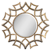 Global Direct 40.25-in x 40.25-in Antiqued Gold with A Light Gray Glaze and Burnished Edges Beveled Round Framed French Wall Mirror