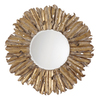Global Direct 42.75-in x 42.75-in Antiqued Gold Leaf with Burnished Edges and A Light Gray Wash Beveled Round Framed French Wall Mirror