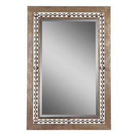 Global Direct 33.25-in x 49.25-in Antiqued Silver Leaf Rectangular Framed Mirror