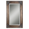Global Direct 44.625-in x 74.625-in Heavily Antiqued, Crackled Bronze Leaf with A Heavy Gray Glaze Beveled Rectangle Framed French Wall Mirror