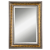 Global Direct 25.125-in x 35.125-in Gold Leaf Undercoat with Blotched Brown Stain, Black Speckling and A Dark Gray Glaze Beveled Rectangle Framed French Wall Mirror