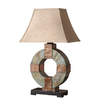 Global Direct 28-1/2-in Slate Outdoor Table Lamp with Tan Shade