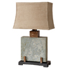 Global Direct 28-3/4-in Slate Outdoor Table Lamp with Tan Shade