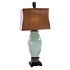 Global Direct 35-in Crackled Turquoise Table Lamp with Silken Bronze Shade