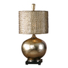 Global Direct 32-in 3-Way Glass Body with An Antiqued Silver/Champagne Leaf Finish On The Inside Indoor Table Lamp with Metal Shade