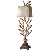 Global Direct 36-in Antiqued Champagne Leaf Table Lamp with Antiqued Silver Leaf Shade