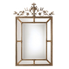 Global Direct 41-in x 62.75-in Silver Leaf Undercoat with A Heavy Dark Gray Wash and Gold Leaf Highlights Beveled Rectangle Framed French Wall Mirror