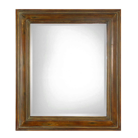 allen + roth 36-in x 42-in Dark Brown with Sage Glaze Beveled Rectangle Framed French Wall Mirror