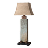 Global Direct 37-in Slate Outdoor Table Lamp with Tan Shade