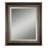 Global Direct 36-in x 42-in Black with Antique Gold Details Beveled Rectangle Framed French Wall Mirror
