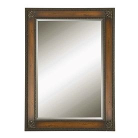 Style Selections Mahogany Brown with Antique Silver Leaf Accents Rectangle Framed Wall Mirror
