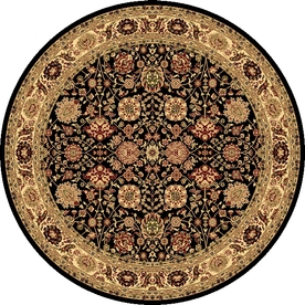 Rugs America New Vision Tabriz Black Round Indoor Woven Area Rug (Actual: 5.25-ft Dia)