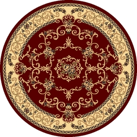 Rugs America New Vision Souvanerie Red Round Indoor Woven Area Rug (Actual: 5.25-ft Dia)
