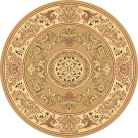 Rugs America New Vision 5-ft 3-in x 5-ft 3-in Round Beige Floral Area Rug