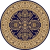 Rugs America New Vision 5-ft 3-in x 5-ft 3-in Round Blue Floral Area Rug