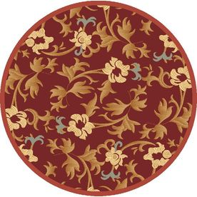 Rugs America Torino Round Red Transitional Woven Area Rug (Common: 5-ft x 5-ft; Actual: 5.25-ft x 5.25-ft)