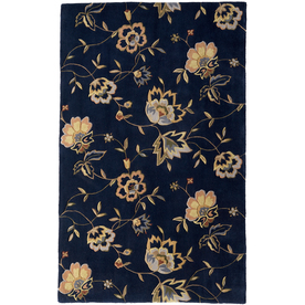 Rugs America Flora 5-ft x 8-ft Rectangular Blue Floral Wool Area Rug
