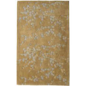 Rugs America Flora 18-in x 27-in Rectangular Cream Floral Wool Accent Rug