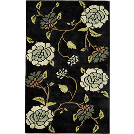 Rugs America Pacific 5-ft x 8-ft Rectangular Black Floral Area Rug