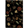 Rugs America Pacific 7-ft x 9-ft Rectangular Black Floral Area Rug