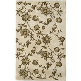 Rugs America Pacific 5-ft x 8-ft Rectangular Cream Floral Wool Area Rug