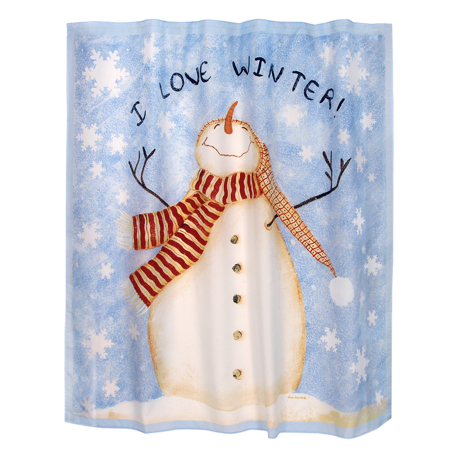 Pics Photos - Snowman Shower Curtain Features Blue Background With ...