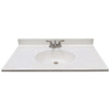 US Marble Ambassador White on White Cultured Marble Integral Bathroom Vanity Top (Common: 37-in x 19-in; Actual: 37-in x 19-in)