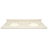 US Marble Wheat Solid Surface Undermount Double Sink Bathroom Vanity Top (Common: 61-in x 22-in; Actual: 61-in x 22-in)